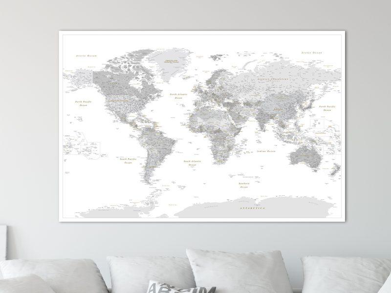 push pin world map detailed grey white