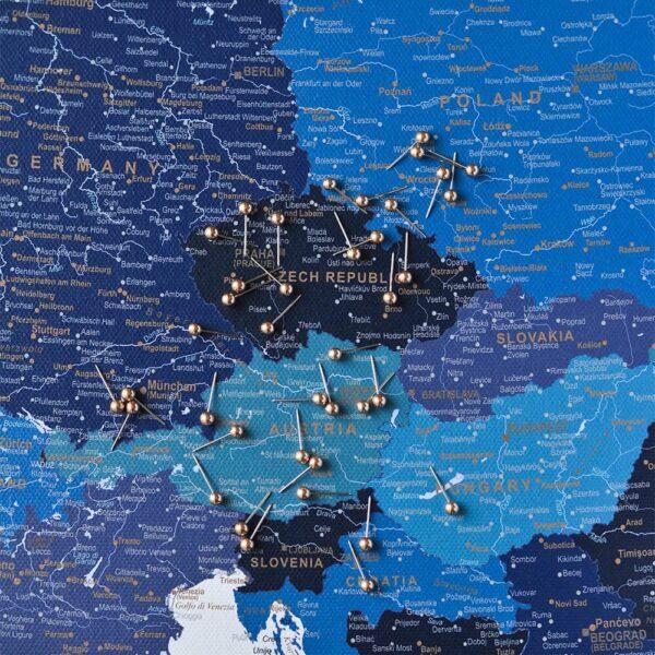 DEUTSCHLAND-Detailliert-Europa-Pinnwand Karte-Marineblau