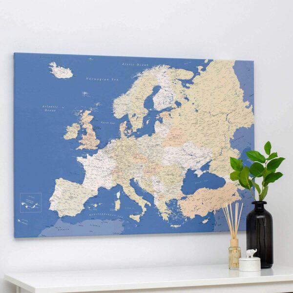 Europa-Pinnwand-Karte-Blau