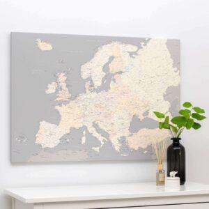 Europa-Pinnwand-Karte-Grau-Cremefarben-Detailliert