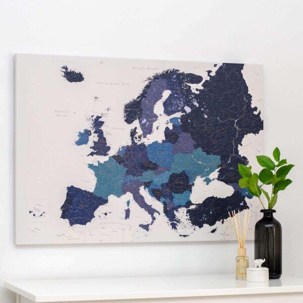 Europa-Pinnwand-Karte-Marineblau