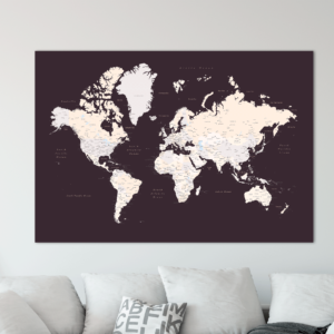 Kunstdruck-Pinnwand-karte-der-welt-dunkelbraun