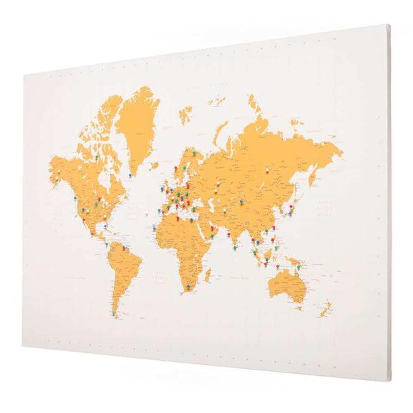 Leinwand-Stecknadeln-Karte-Welt-Kunst-Tripmapworld-Gelb