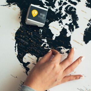 Schwarzweiße-Weltkarte-Pinnwand-Leinwand-Tripmap