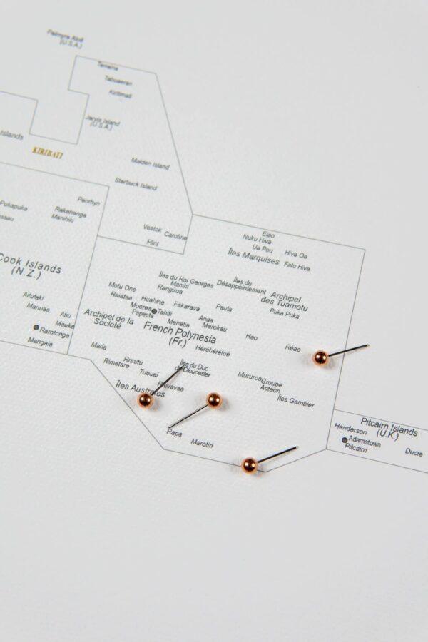 Welt Pinnwand Karte – Grau (Detailliert)