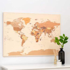 Welt-Pinnwand-Karte-Braun-Detailliert