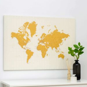 Welt-Pinnwand-Karte-Gelb
