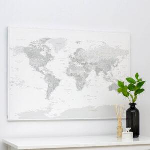 Welt-Pinnwand-Karte-Grau