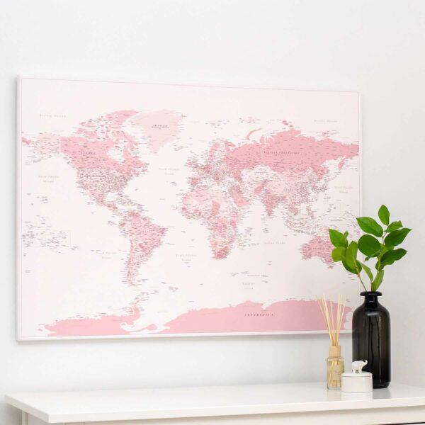 Welt-Pinnwand-Karte-Rosa