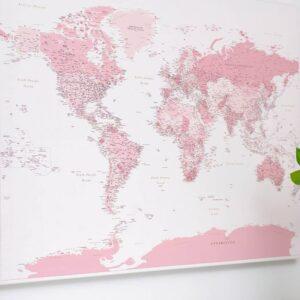 Welt-Pinnwand-Karte-Rosa-detailliert