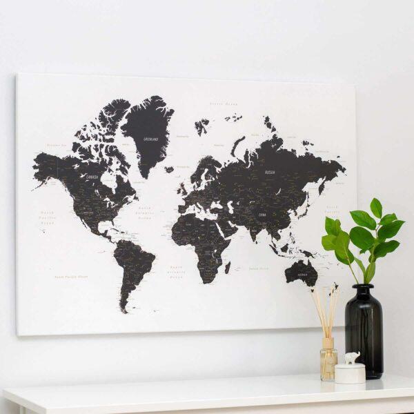 Welt-Pinnwand-Karte-Schwarzweiß