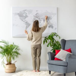 Weltkarte Pinnwand Grau Detaileriet