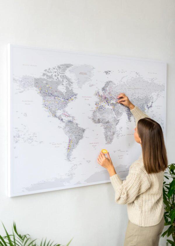 Weltkarte Pinnwand Grau