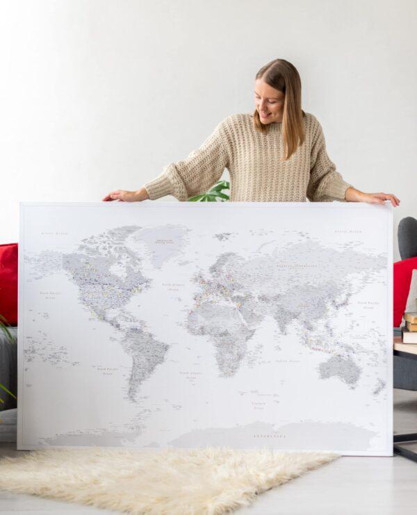 Weltkarte Pinnwand Grau auf leinwand