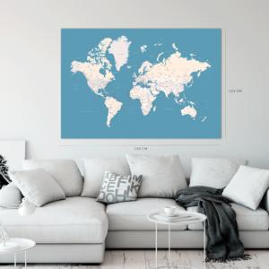 hellblau-Weltkarte-Leinwandbild XXL-
