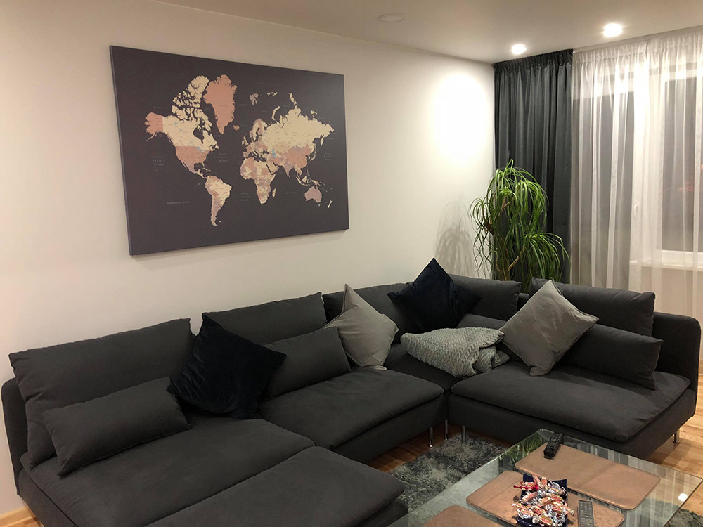 large world map on wall