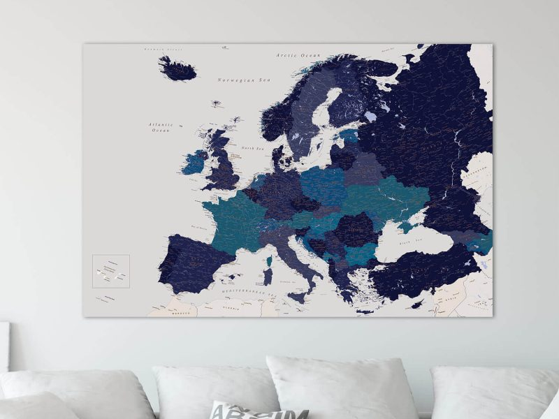 push pin europe map navy blue canvas