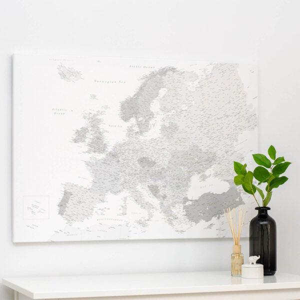 Europakarte Pinnwand Grau