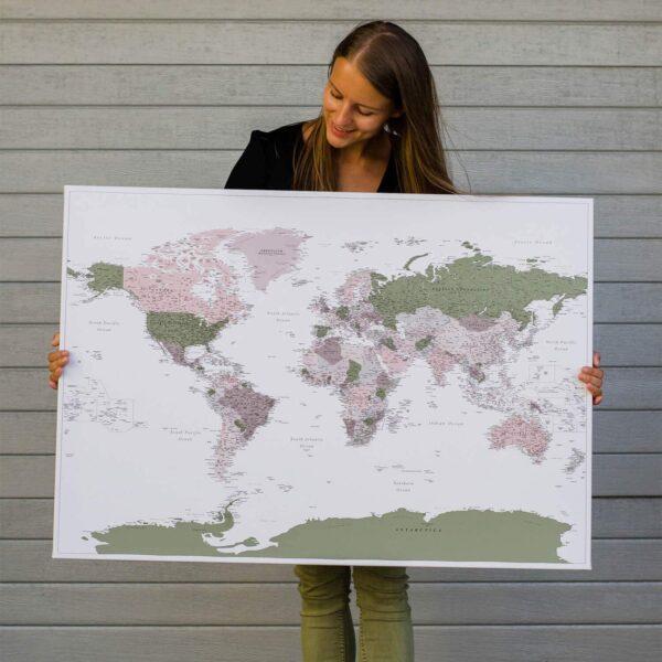 Pinnwand-Weltkarten-Grün-Lila