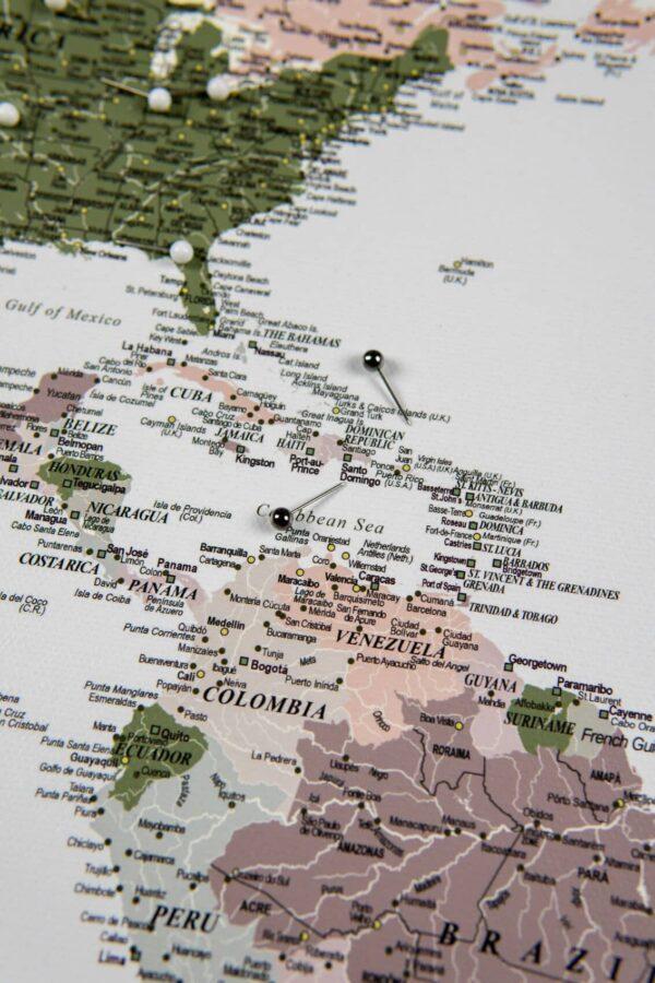 Welt Pinnwand Karte – Grün Lila (Detailliert)