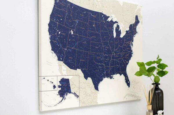 Pinnwand-USA-Karte-mit-Stecknadeln-Marineblau-Tripmap