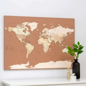 Welt-Pinnwand Karte-Detailliert-Braun-Beige