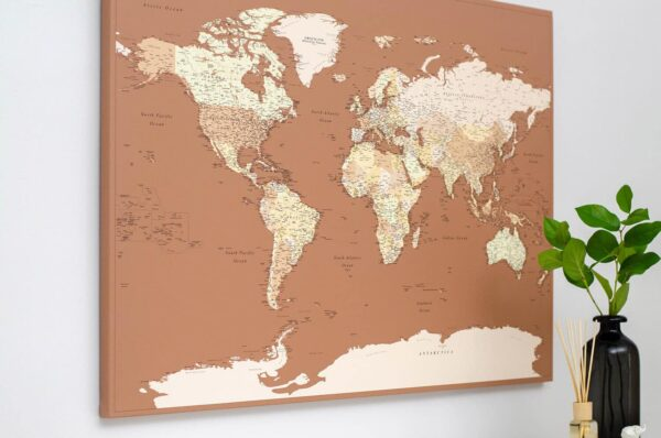 Welt-Pinnwand-Karte-beige-braun