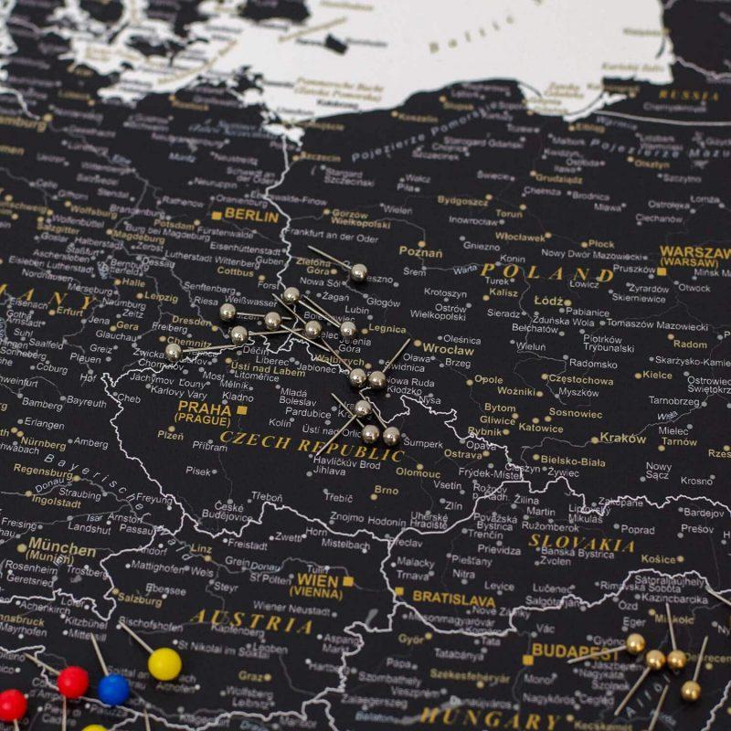 Detailliert-Europa Pinnwand- Schwarzweiß