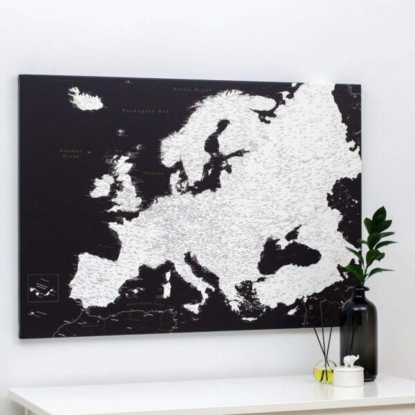 Europa-Pinnwand-Karte-Modernes-Schwarz-Detailliert