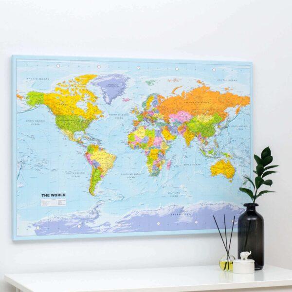 Welt-Pinnwand-Karte-Politisch