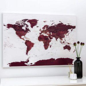 Pinnwand Weltkarte – Burgunderrot (Detailliert)