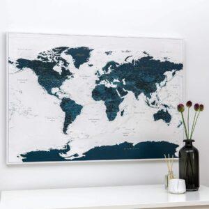 Pinnwand Weltkarte – Meerblau (Detailliert)