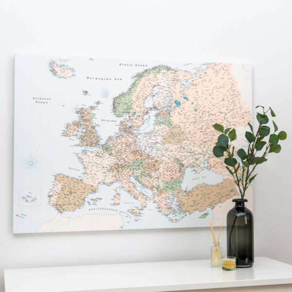 europa pinnwand karte retro detaillert