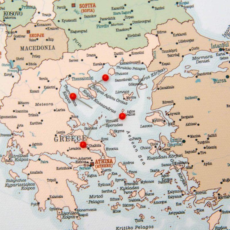 retro pinnwand europa karte