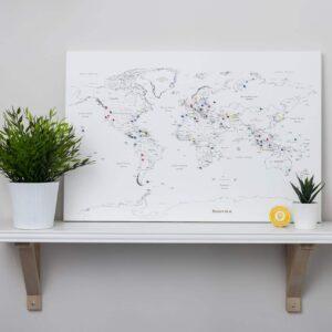Pinnwand-Weltkarte-Weiß -60x40cm