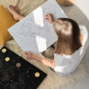 Pinnwand Weltkarte Weiß mit pins
