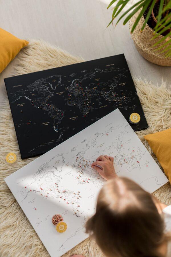 Pinnwand Weltkarte Weiß zum pinnen
