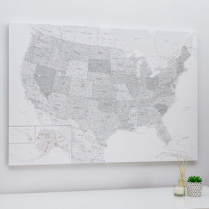Pinnwand USA Karte Grau Weiß Detailliert