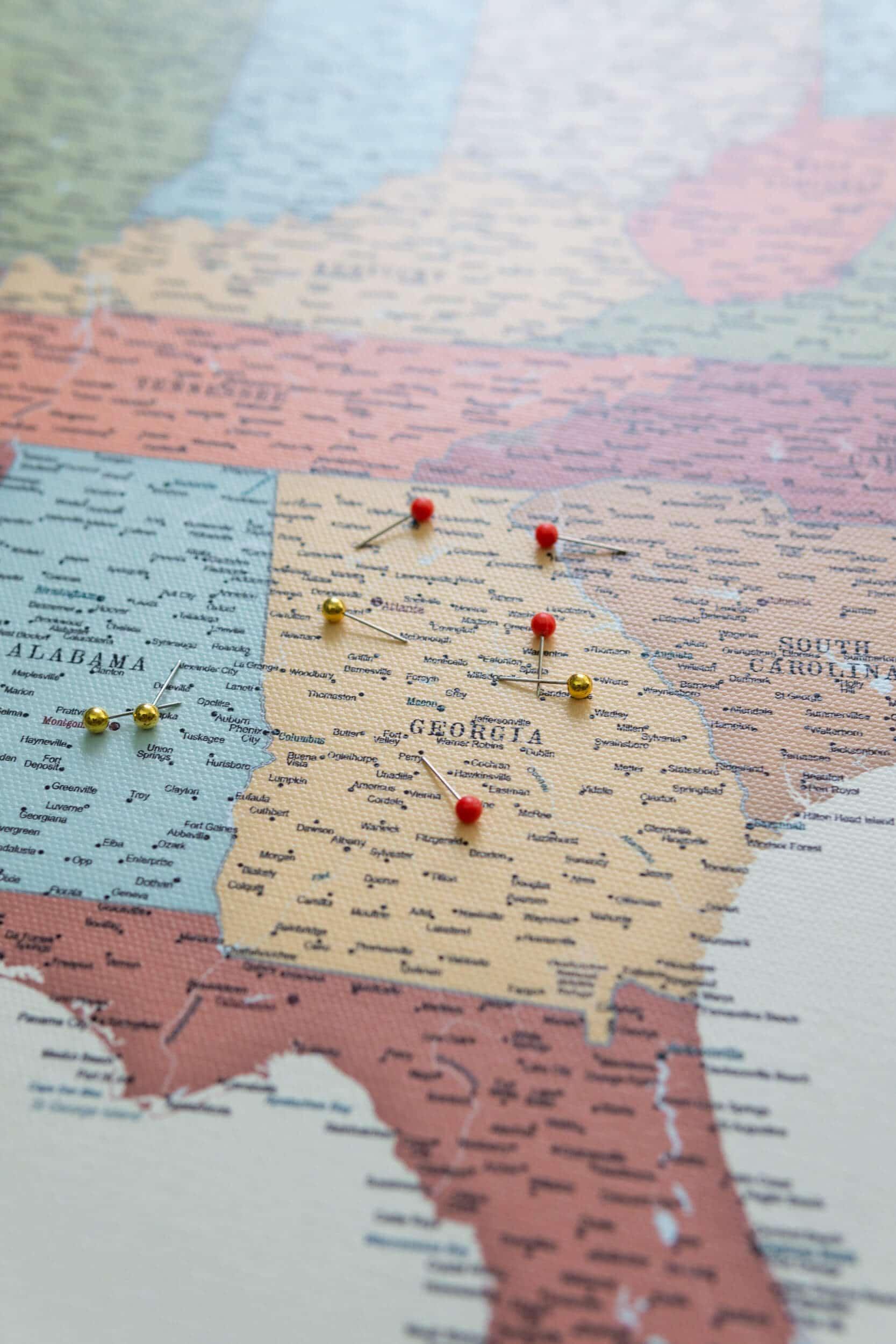 USA Karte pinnwand Bunte mit pins