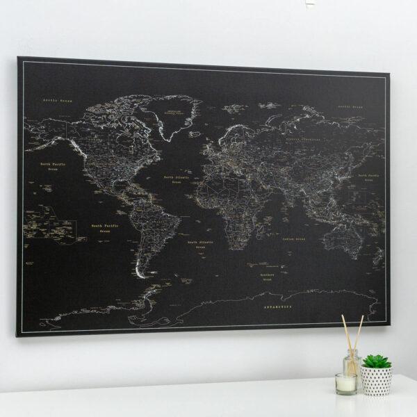 Pinnwand-Weltkarte-Pechschwarz-Detailliert
