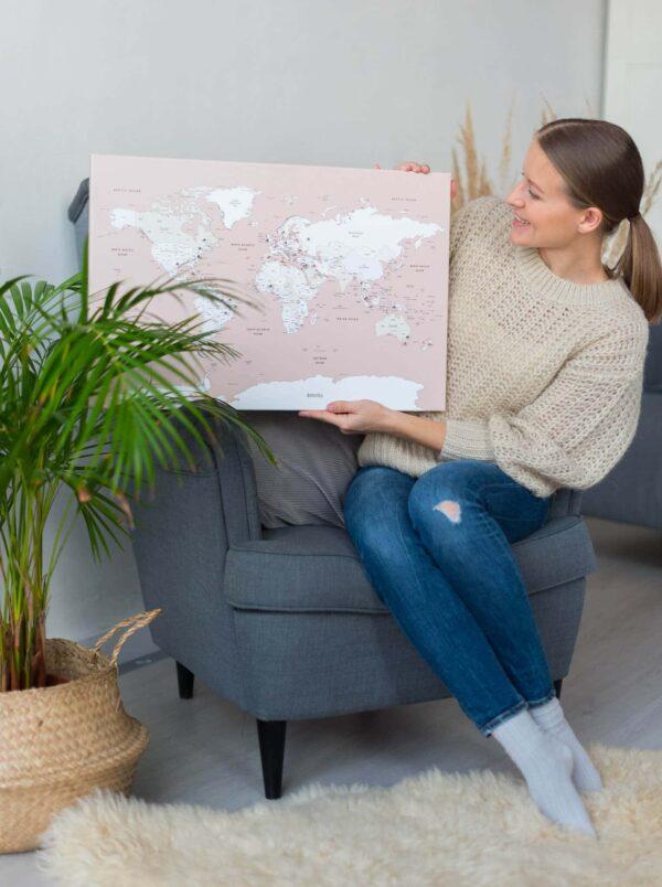 landkarte pinnwand altrosa