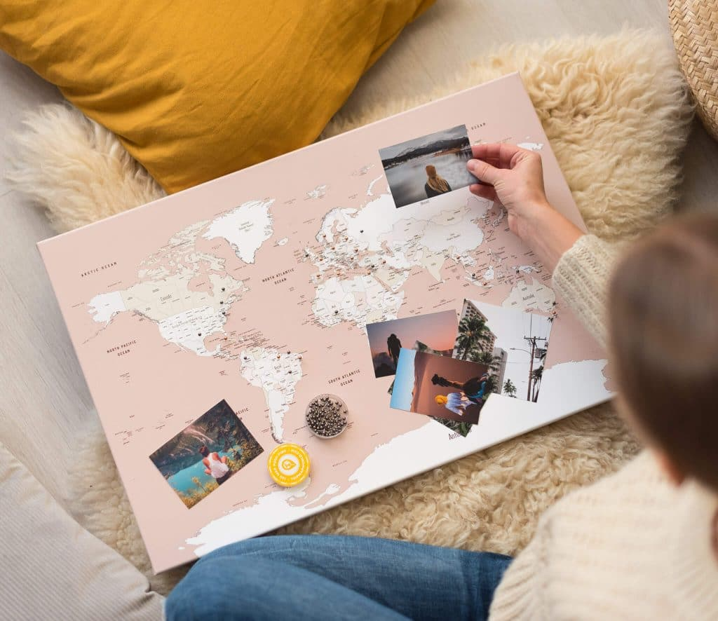 pinnwand reisekarte altrosa