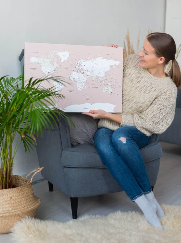 Kleine Pinnwand-Weltkarte trip map world
