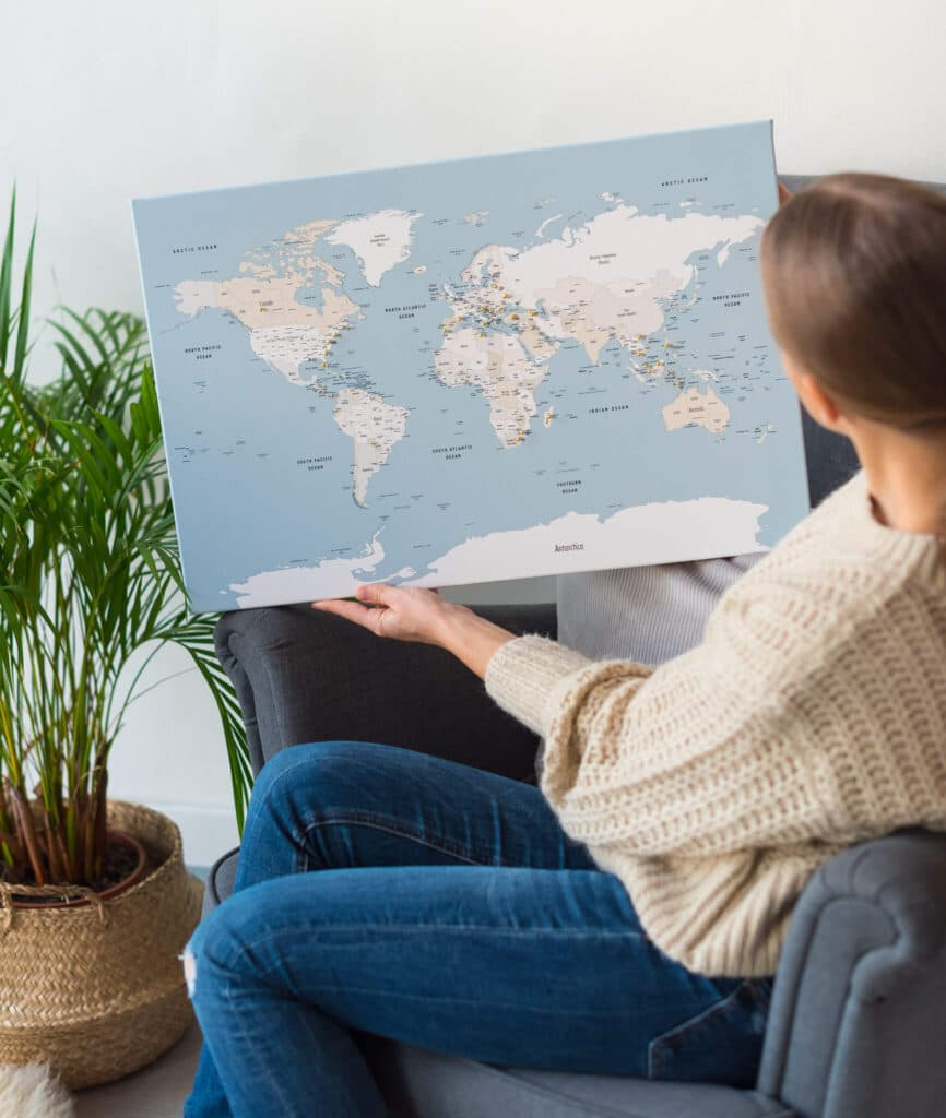 Kleine Pinnwand-Weltkarte tripmap