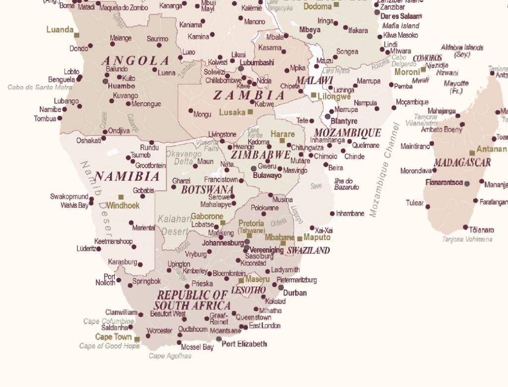 detaillierte Pinnwand-Weltkarte